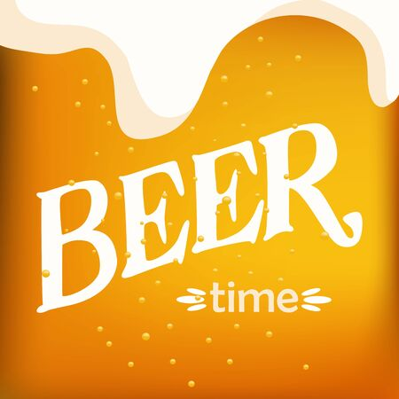 Hand drawn vector of light beer closeup and beer time lettering
