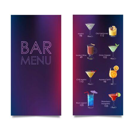 Cocktail bar menu template. Vector