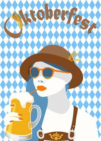 Vector illustration of oktoberfest blue diamond symbols poster banner with a hip woman holding a  light beer mug