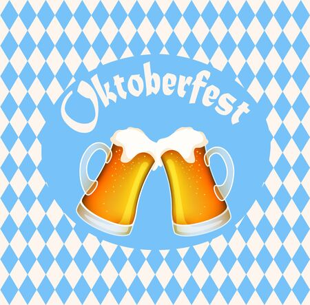 Vector illustration of oktoberfest poster banner with two full beer mugs, blue diamond symbols and lettering