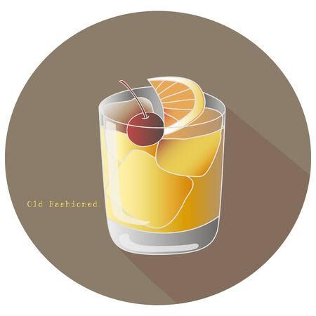 Hand drawn vector illustration of The Old Fashioned alcohol whiskey or brandy cocktail with a citrus orange slice and a cocktail cherry decoration, in a brown circle with a shadow and text. Bar menu