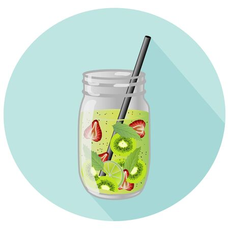 Vector illustration of fruit infused home made water or agua fresco in mason jar with a black straw and long shadow design. Lime, kiwi, strawberry and mint mix