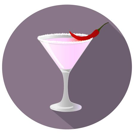 Hand drawn vector illustration of spicy chili infused cocktail, in a violet circle with long shadow and text. Bar menu
