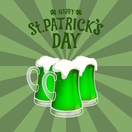 Three green beer mugs against sunburst vintage background. Hand drawn vector with st patricks day lettering