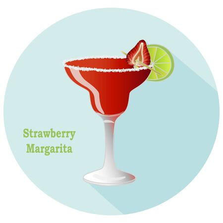 Hand drawn vector of strawberry Margarita alcohol tequila and triple sec cocktail with a citrus lime slice decoration with salt on the rim of glass Vettoriali