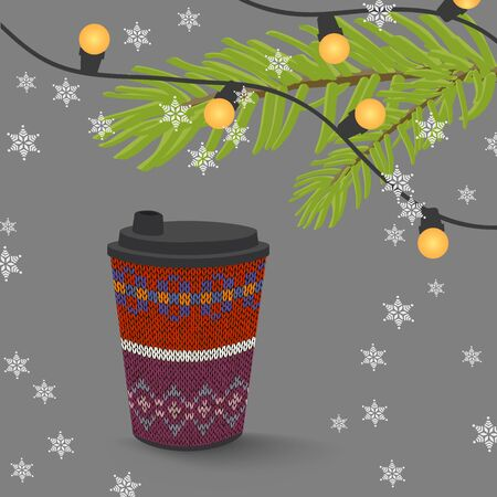 Coffee paper cup with knitted pattern, christmas lights and snowflakes Illustration