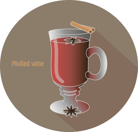 Hand drawn vector illustration of a mulled wine hot drink with two cinnamon sticks on top and star anise spices. In a brown circle with a shadow and text Mulled wine Ilustração