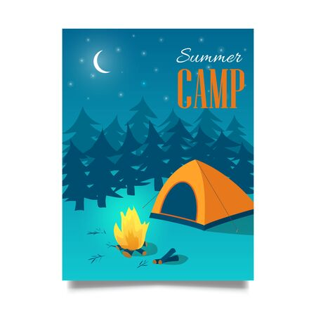 Summer camp vector hand drawn flyer or poster Ilustrace