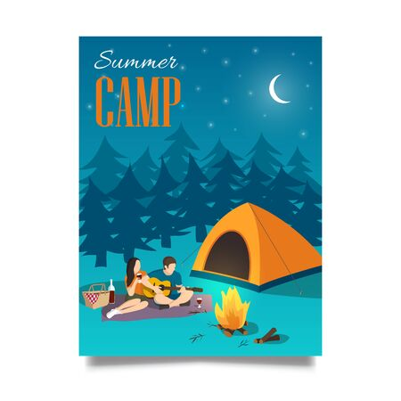 Summer camp vector hand drawn flyer or poster with young couple playing the guitar