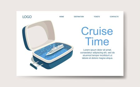 Ship cruise time, landing web page template. Vector Illustration