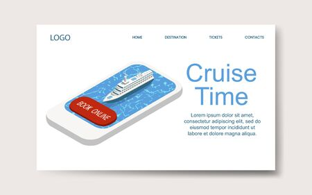 Cruise time, landing web page template. Isometric vector