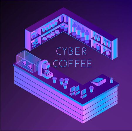 Vector isometric ultra violet cyber coffee house counter. Web banner, app icon