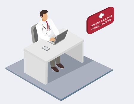 Online doctor consultation, isometric vector illustration Illusztráció
