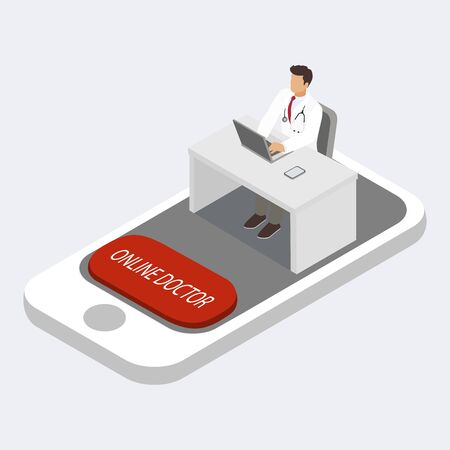 Online doctor consultation via smartphone concept, isometric vector illustration