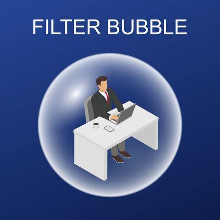 Filter bubble  web information from social media vector illustration