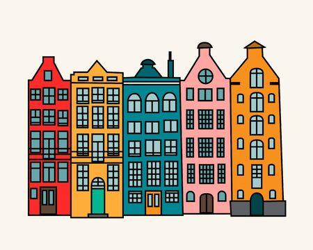 Set of colorful old hand drawn european multistory buildings Vektorgrafik