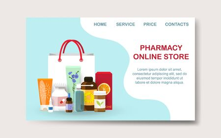 Pharmacy online shopping landing page mockup. Vector illustration Illustration