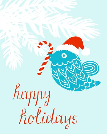 Hand drawn happy holiday vector card with a bird and candy cane Ilustrace