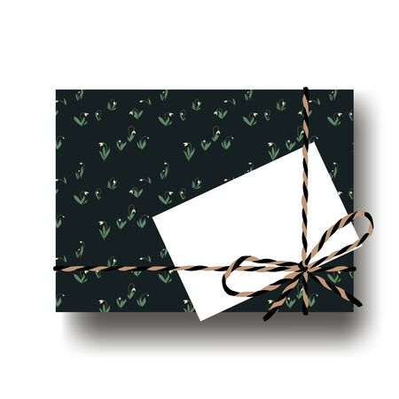 Hand drawn snowdrops gift present box with tied string bow and blank note. Wrapping diy idea. Vector illustration. Top view Illustration