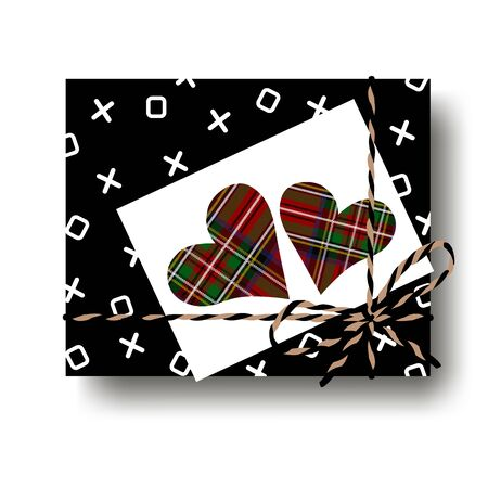Black hugs and kisses gift present box with tied string bow and two checked plaid tartan hearts note. Wrapping diy idea. Vector illustration. Top view