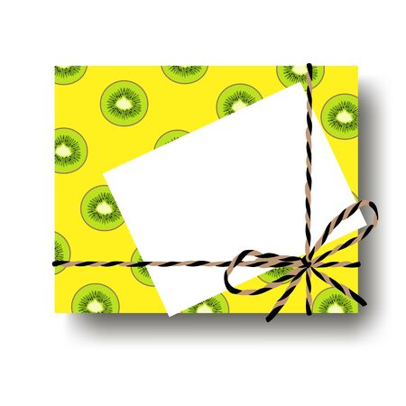Tropical yellow with kiwi scile gift present box with tied string bow and blank note with copy space. Wrapping diy idea. Vector illustration. Top view