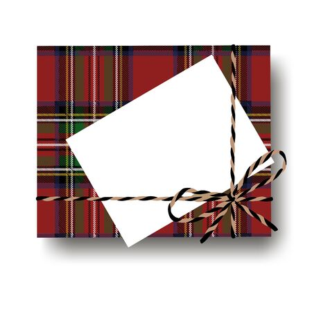 Checked tartan plaid gift present box with tied string bow and a fir tree branch and blank note with copy space. Wrapping diy idea. Vector illustration. Top view