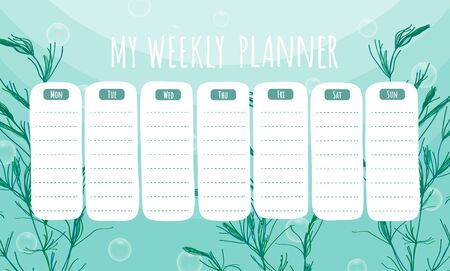 Marine life weekly planner with seaweeds.  Vector stationary template