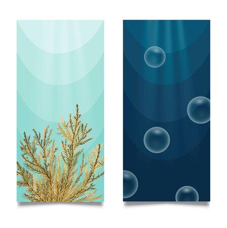 Underwater/undersea diving banner or poster set. Hand drawn vector Illustration