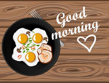 Fried eggs and bacon top view on wooden table with good morning lettering. Home made breakfast with love Stock Illustratie
