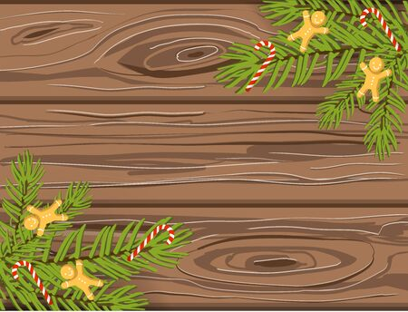 Hand drawn Christmas vector background, brown wooden texture with christmas tree branches, candy canes and gingerbread men