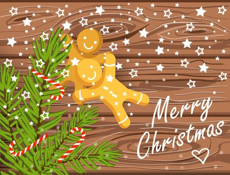 Hand drawn Christmas vector background, brown wooden texture with christmas tree branches, candy canes, gingerbread men and merry christmas lettering Illustration