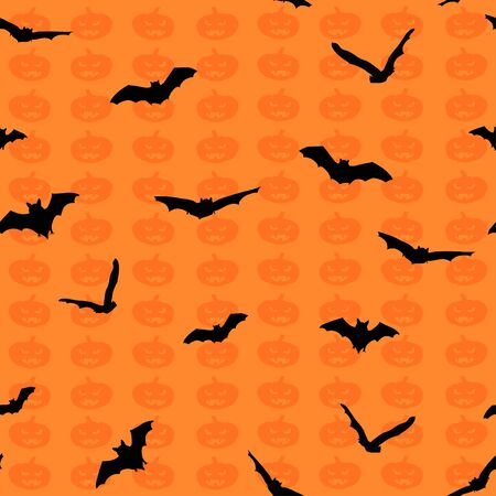 Silhouette of spooky bats and pumpkins against orange background. Vector illustration, seamless pattern Illustration