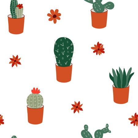Hand drawn seamless pattern with cacti. Vector