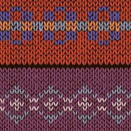 Two fair isle style hand made knitted patterns, orange, blue, violet colors. Vector illustration Ilustração