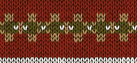 Seamless handmade vector knitted border. Natural colors, fair isle style