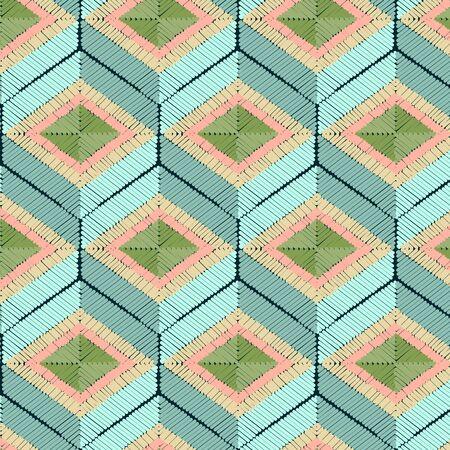 Seamless geometrical hexagonal vector pattern, satin stitch embroidery Illustration