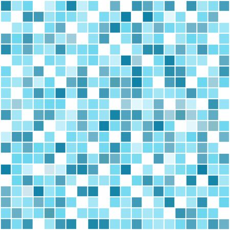 Blue square mosaic seamless vector pattern.