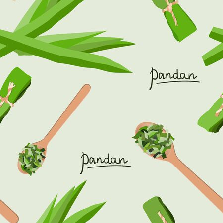 Vector seamless pattern of pandan leaves, shredded pandan spices in wooden spoon and wrapped leaves Illustration