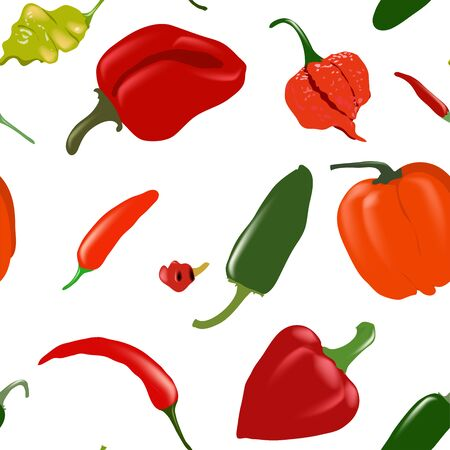 Seamless white vector pattern with various pepper types