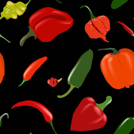 Seamless black vector pattern with various pepper types