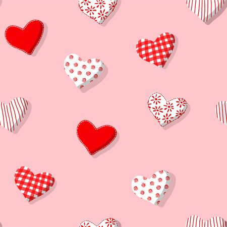 Seamless romantic vector pattern with handmade textile hearts. St.Valentines concept