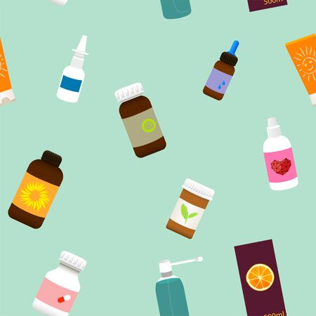 Seamless green medical pattern with medicine bottles, sprays and pills.Vector illustration