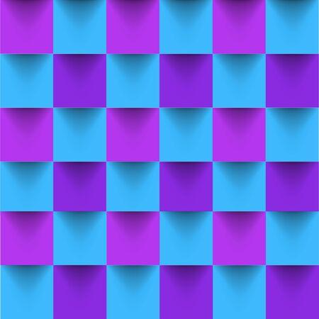 Hypnotic bright square geometric seamless background. Vector illustration