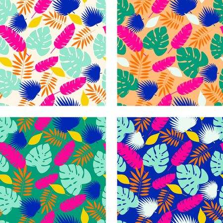 Set of four bold bright tropical leaves seamless patterns. Vector Banque d'images - 133188424