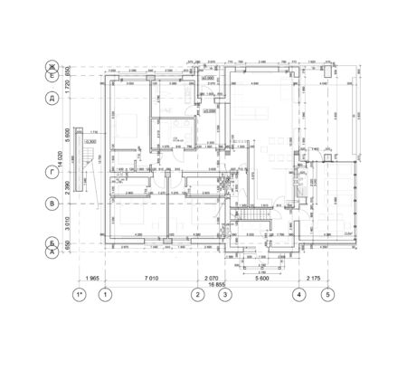 Detailed architectural plan, floor plan, layout, blueprint. Vector illustration