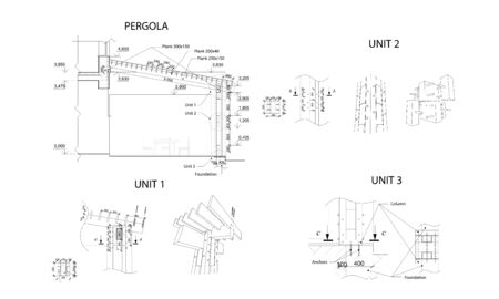 Set of units, detailed architectural technical drawing, vector blueprint