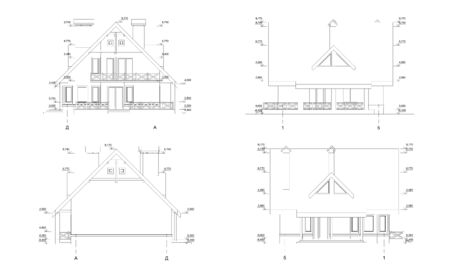 Private house section, detailed architectural technical drawing, vector blueprint Banque d'images - 133151985