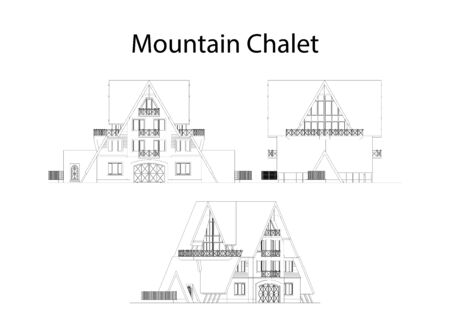 Mountain chalet facade and section, detailed architectural technical drawing, vector blueprint