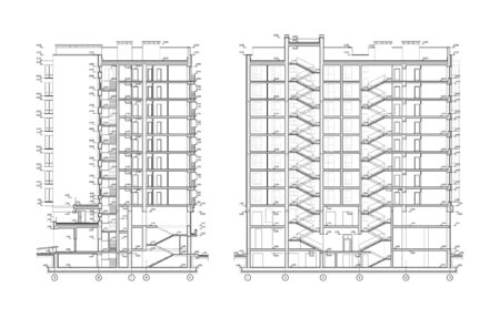 Multistory building facade, detailed architectural technical drawing, vector blueprint