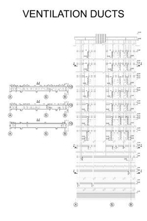Lüftungskanäle des mehrstöckigen Gebäudes, detaillierte architektonische technische Zeichnung, Vektorplan Vektorgrafik